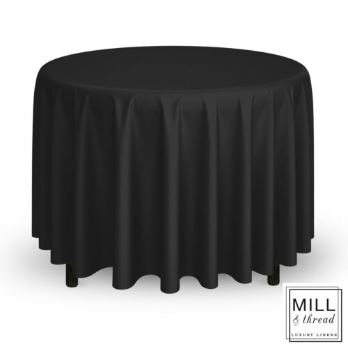 """Black 120/"""" Round Wedding Banquet Polyester Fabric Tablecloth"""