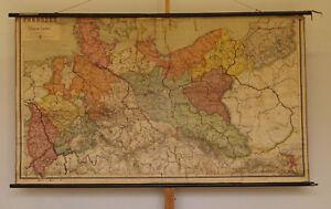 Wandkarte-Koenigreich-Preussen-202x115cm-1910-vintage-Prussia-school-wall-map