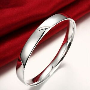 Womens-Silver-Smooth-Round-Bangle-Fashion-Bracelet-B491
