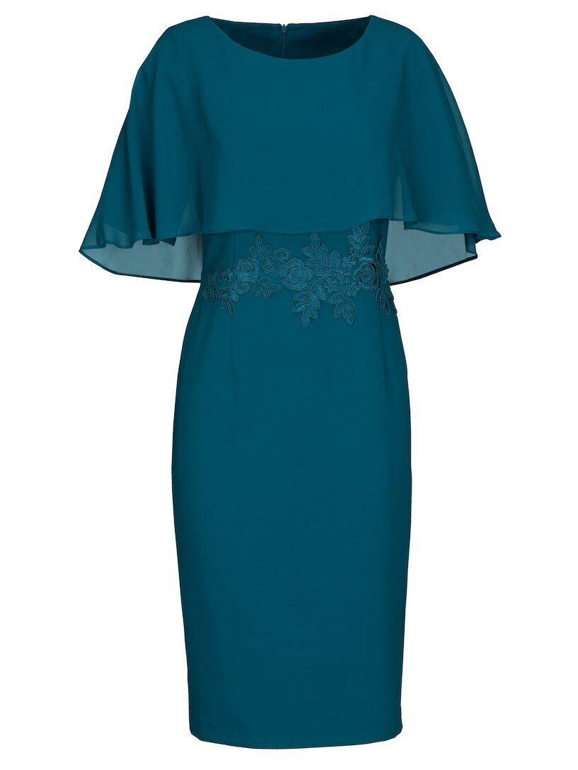 Kleid 2 in 1 Optik Festkleid Abendkleid petrol Gr. 23 24 25 50 Neu