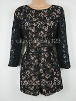 BNWT Love Label Black Lace Playsuit Size 12 RRP £49