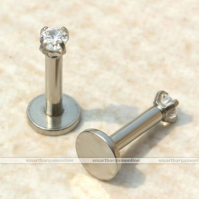 16G CZ Gem Round Tragus Lip Ring Monroe Ear Cartilage Stud Earring Body Piercing