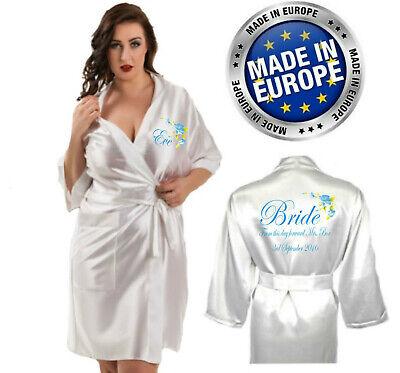 Ehrgeizig Personalised Blue Flower Wedding Robe / Dressing Gown / Kimono Bridal Party Mum Feine Verarbeitung