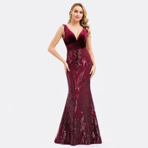 UK Ever-Pretty Velvet V-neck Long Evening Prom Gowns Bodycon Wedding Party Dress