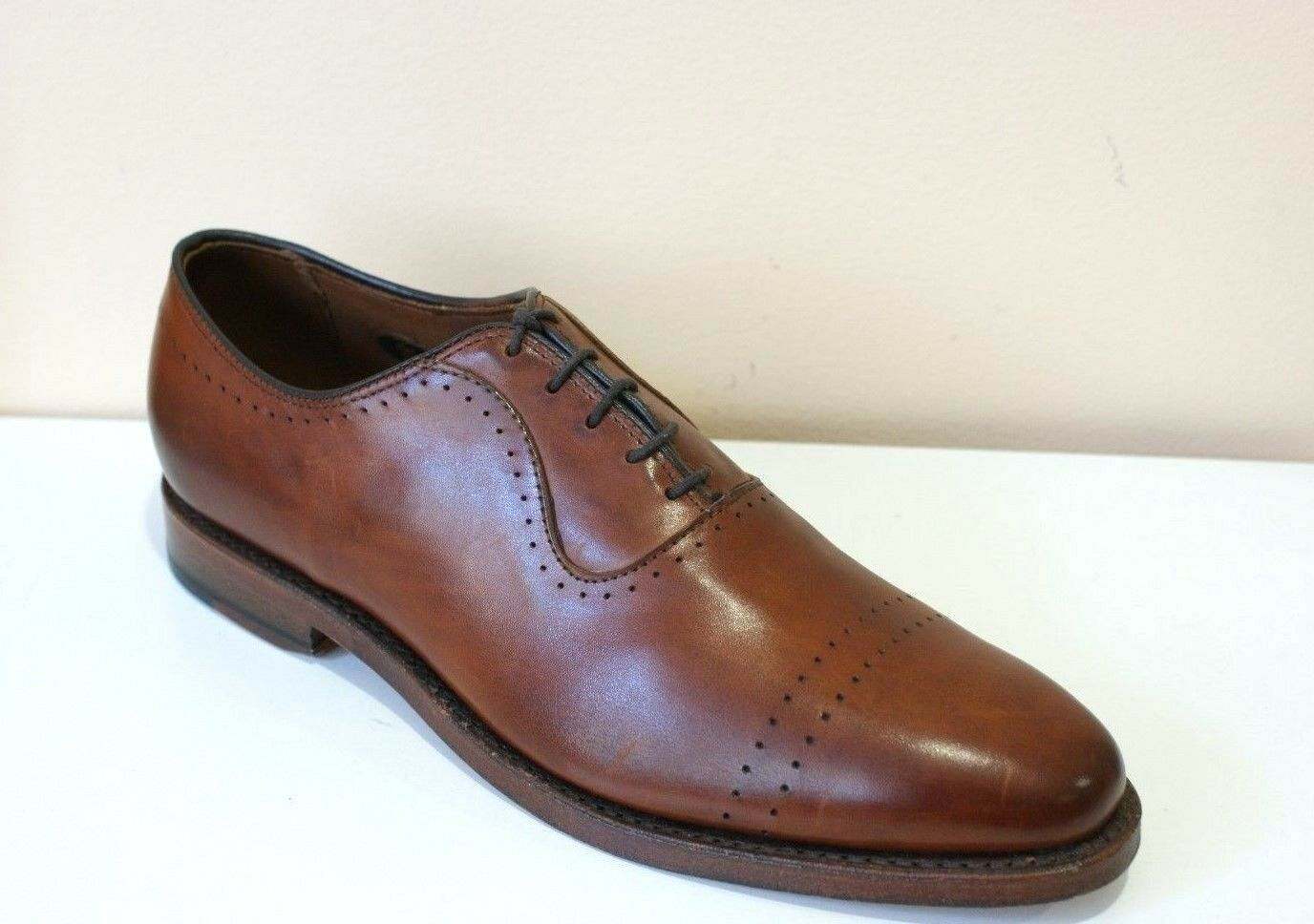 Allen Edmond Vernon Saddle Brown Leather Oxford Dress shoes Mens 8 NEW IN BOX