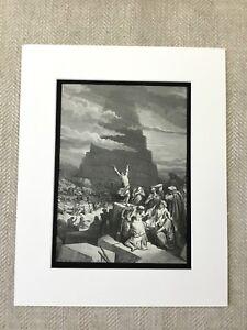 1870-The-Torre-Di-Babel-Dore-Bibbia-Story-Vittoriano-Originale-Antico-Stampa
