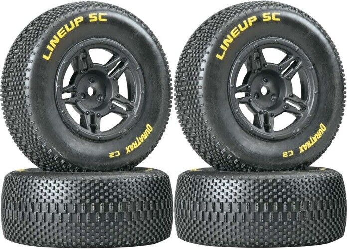 NEW Duratrax Mounted Lineup SC Tires Wheels C2 4 Traxxas Slash 4X4 / Blitz F/R