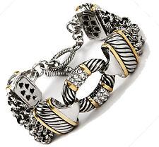 """Designer Bali Design CZ Crystal Silver Gold Rope Links Chain Toggle Bracelet 8"""""""