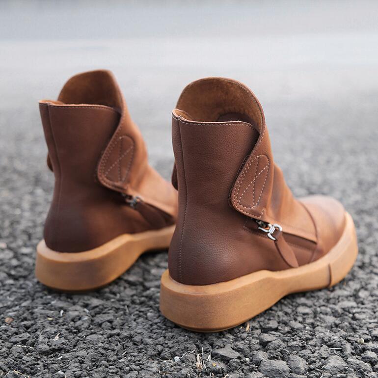Mujer Invierno Cálidas botas al al al tobillo cuero retro de terciopelo estilo británico zapatos Hot Sbox1  diseño único