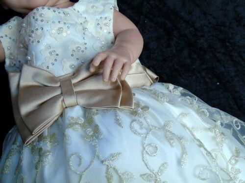 Kleid Baby Taufe Festkleid Hochzeit Sommerkleid 56 62 68 74 80 86 92 98 gold cre