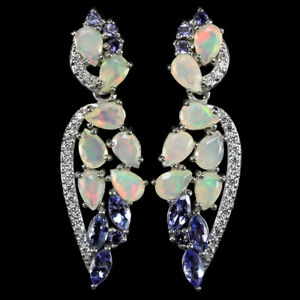 NATURAL-AAA-RAINBOW-OPAL-BLUE-TANZANITE-amp-CZ-STERLING-925-SILVER-EARRING