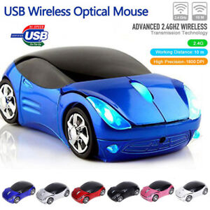 2-4-GHz-Raton-inalambrico-Forma-del-coche-Gaming-Mice-con-receptor-USB-para-PC
