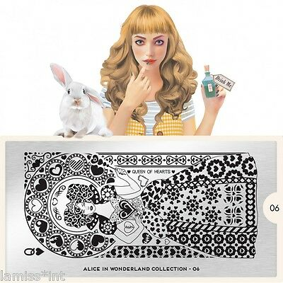 MoYou London ALICE 6 Collection Stamping Schablone, Wunderland Herz Ornament