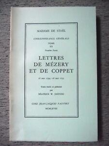 MADAME-DE-STAEL-CORRESPONDANCE-GENERALE-LETTRES-DE-MEZERY-ET-COPPET-PAUVERT-1968