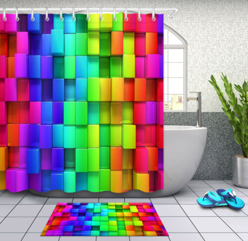 Rainbow Colorful Cube Shower Curtain Liner Waterproof Fabric /& 12 Hooks Bath Mat