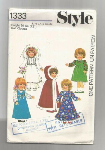 "Style #1333 Doll Clothes size 22"" Hooded Cape Bridal Dress w Veil 1975 SCARCE"