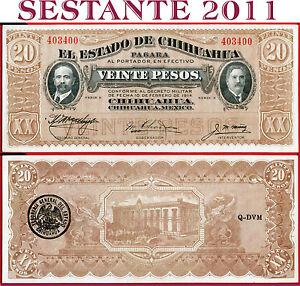 MEXICO 20 PESOS 1914 1915 AUNC EL ESTADO DE CHIHUAHUA P-S537 REVOLUTION BANKNOTE