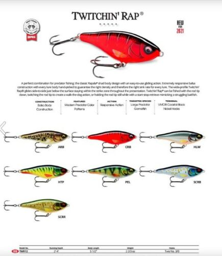 Rapala Twitchin/' Rap //// TWR12 //// 12cm 53g Fishing Lures Various Colors
