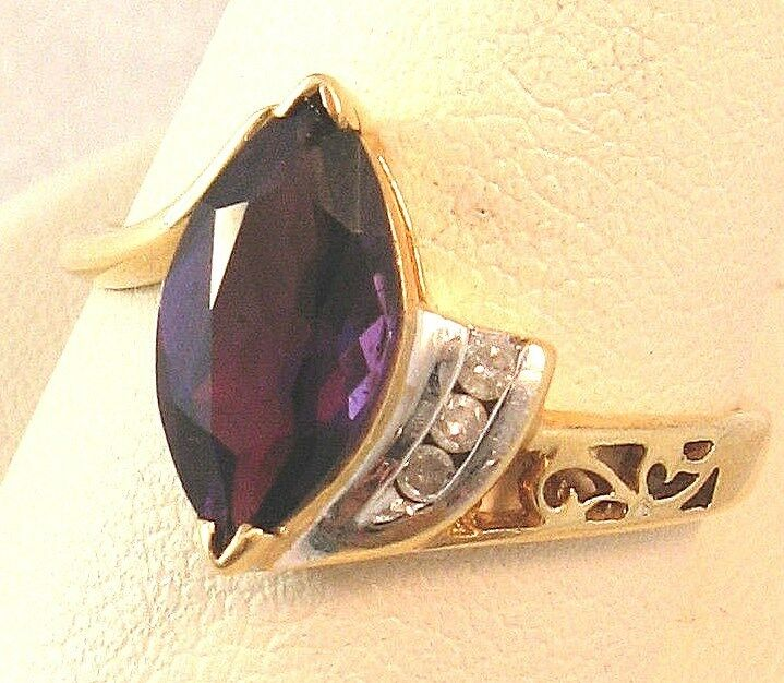 14K White Yellow gold 1.6CT Marquise Amethyst Diamond Vintage Ring 3.7gr S8.25