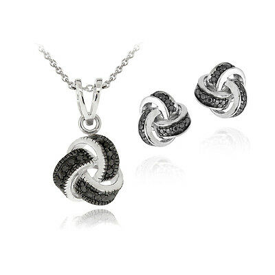 Black Diamond Accent Love Knot Necklace & Earrings Set in Brass