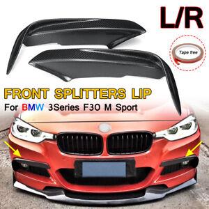 2X-SPORT-CARBON-FIBER-FRONT-FOG-LAMP-FIN-SPLITTER-BUMPER-LIP-COVER-For-BMW-F30-M