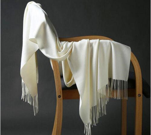 For Womens Blanket 100/% Cashmere Big Long Scarf Shawl Wrap Solid Scotland Wool
