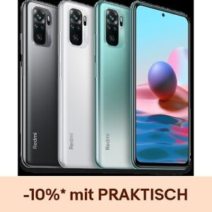 "Xiaomi Redmi Note 10 4GB 64GB Handy 6,43"" AMOLED 48MP 5000mAh 33W EU Version"