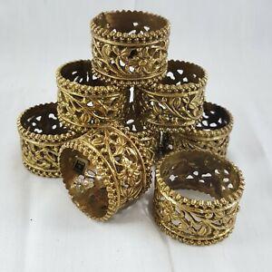 Vintage-Brass-Napkin-Ring-Lot-8-Cutwork-floral-tableware-goldtone-decor-India