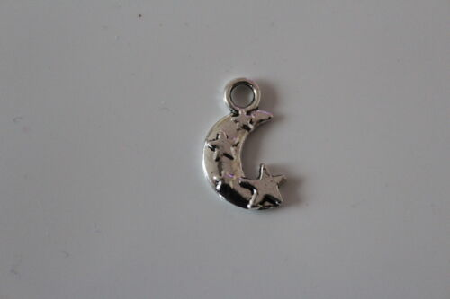 10 25 or 50 Tibetan Silver Moon and Stars Pendant Charms 11x18mm