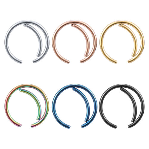 6 Pcs Stainless Steel Nose Rings Moon Shape Tragus Helix Septum Labret Piercing