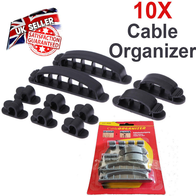 10 Pcs Cable Organizer - Cord Wire Line Plastic Clips Ties Fixer Fastener Holder