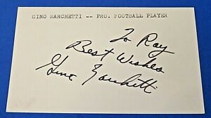 GINO MARCHETTI SIGNED INDEX CARD ~ JSA Basic Cert ~ Insc To Ray In Black Sharpie