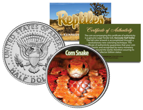 Collectible Reptiles Coin RED RAT JFK Half Dollar Colorized U.S CORN SNAKE