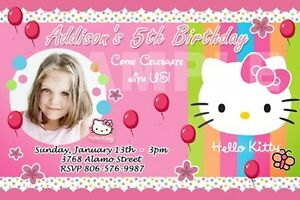 hello kitty birthday party invitation 1st polka dots pink invites