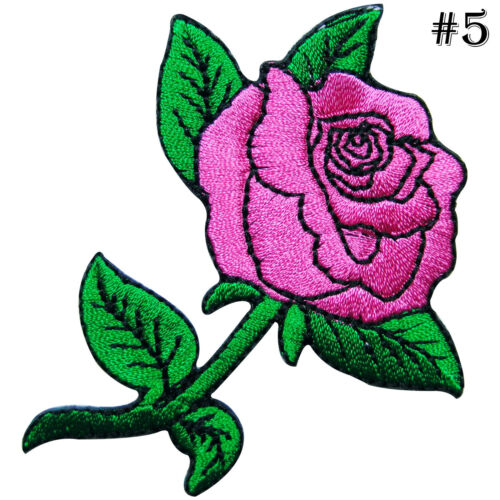 Pink Rose Tattoo Rider Biker Motorcycle Rockabilly Flower Iron-On Patches #A193