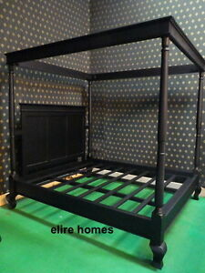 Super King Size 6 Black Four Poster Gothic Handmade Mahogany Bed Ebay