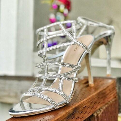 ALDO Silver Metallic Cage Rhinestone Women Shoes H