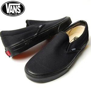 Details about Vans Classic Slip On All Black Skate Mens Womens Canvas Shoes  Sneakers Sizes