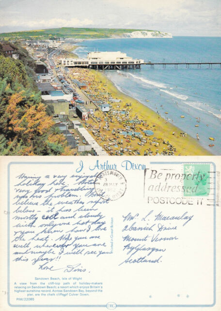 1982 PIER SEA FRONT & BEACH SANDOWN ISLE OF WIGHT COLOUR POSTCARD