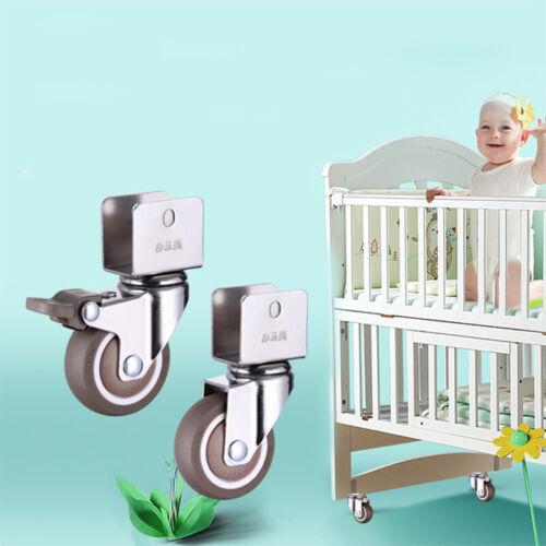 "PACK 4 Swivel Caster Wheels 1/"" 1.25/"" U Bracket 2 with Brake for Crib Furnitures"