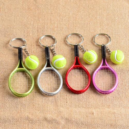 Mini Red Tennis Ball Racket Pendant Keyring Key Chain Sport Lovers Gift Toy