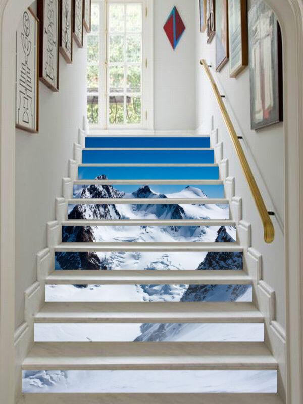 3D Schnee Berg 8354 Stair Risers Dekoration Fototapete Vinyl Aufkleber Tapete DE