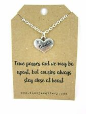 """Rhinestone Heart """"Cousin"""" Pendant 18"""" Necklace Brand New Gift Card Quote"""
