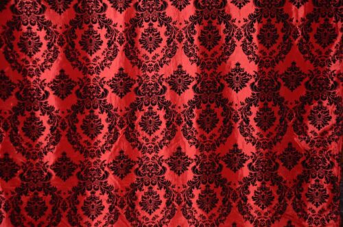 DAMASK TAFFETA VELVET FLOCKED RED DRESS HOME DECOR APPAREL CURTAINS 70 YARDS