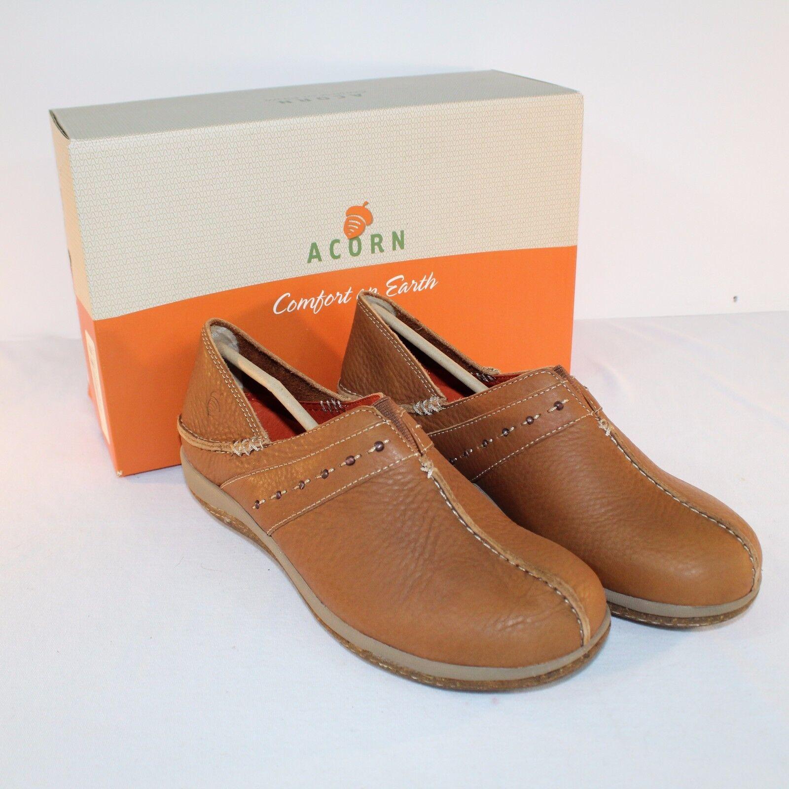 Acorn C2G Lite Moc Whiskey Marronee Leather Slip On Moccasin scarpe Dimensione 6