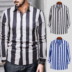 Herren-Mode-Gestreift-Langarm-Bluse-Tops-Streifen-Fashion-Collared-Hemd-Shirts