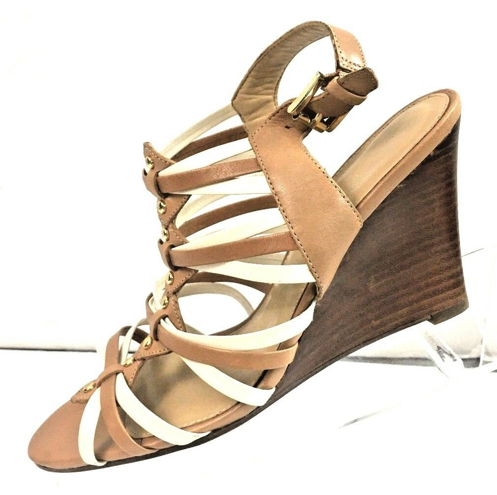 Ivanka Trump Women's Brown Leather Wedge Heels shoes Size 7.5M