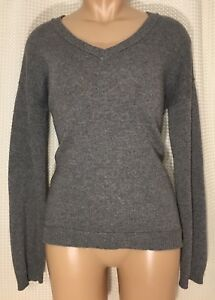 Banana-Republic-Sweater-Pull-Over-Gray-Cashmere-Wool-V-Neck-Long-Sleeve-Sz-S