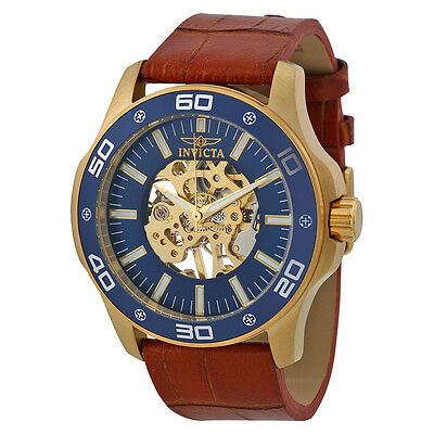 Invicta Blue Skeletal Dial Brown Leather Mens Watch 17260