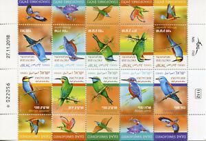 Israël 2019 Neuf Sans Charnière Oiseaux Martins-pêcheurs Bee-eaters Rouleaux 10 V M/s Timbres-afficher Le Titre D'origine